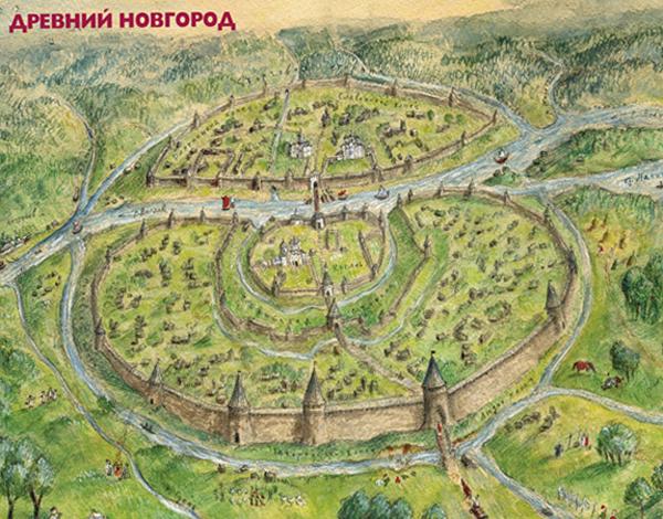 Карта древнего Новгород