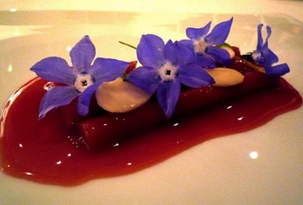Десерт из корня ревеня, лакрицы, миндаля, цитрусовых и цветов бурачника