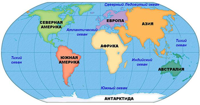 Океаны на карте