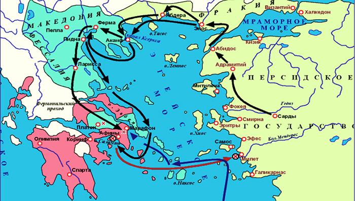 Карта Саламинского сражения