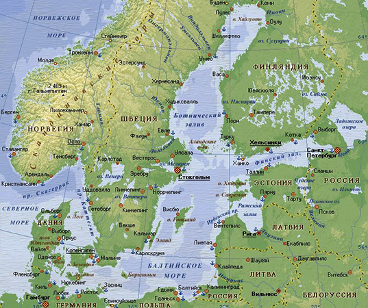 Балтийское море на карте
