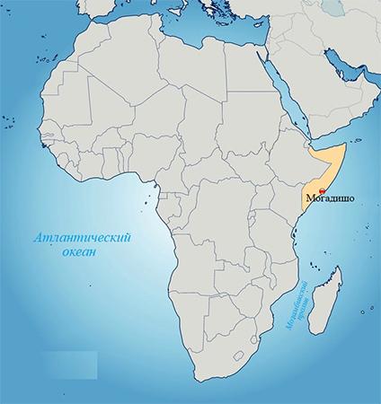 Сомали на карте мира